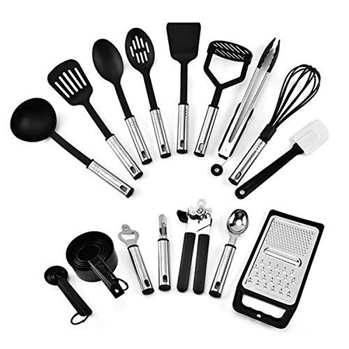 iFCOW Utensilios de cocina 24pcs Set antiadherente resistente al calor Nylon acero inoxidable utensilios de cocina