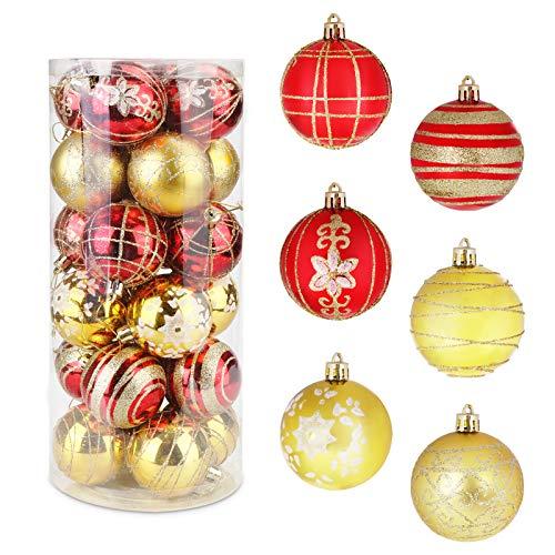 HOSPAOP Weihnachtskugeln, Weihnachtskugeln Set,Weihnachtsbaumkugeln 6cm für Weihnachten, Christbaumkugeln für den Christbaum mit Anhänger (Rot und Gold)