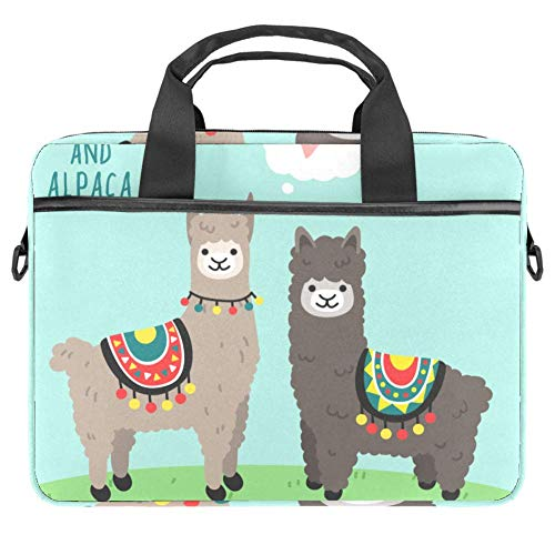 Llama and Alpaca in Love Standing On Green Grass Laptop Case Canvas Pattern Briefcase Sleeve Laptop Shoulder Messenger Bag Case Sleeve for 13.4-14.5 inch Apple MacBook Laptop Briefcase