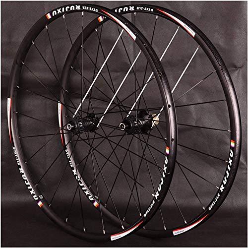 YZU Exzentrischer Ring 700C Rennrad Laufradsatz Carbon Tube Nabe Scheibenbremse Zentralverriegelung Durch Die Achse 8 9 10 11 Fach 24 Löcher (Color, Red),Black