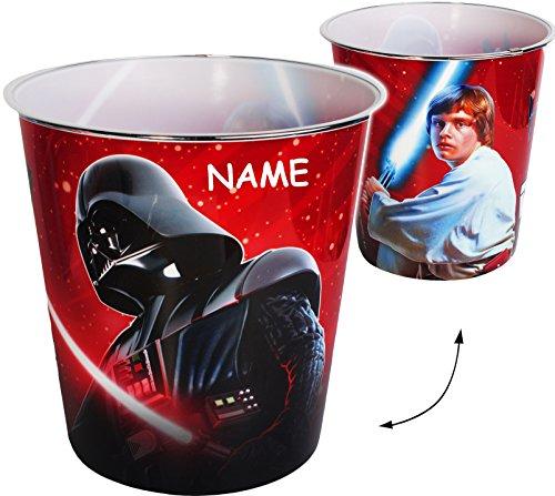 Papierkorb / Behälter -  Star Wars - Darth Vader  - incl. Name - 8 Liter - aus Kunststoff - Spielzeugkorb / Popcornschüssel / Mülleimer Eimer - auch als Blu..
