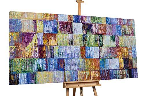 'Glücksecken' 200x100cm | Abstrakt Quadrate bunt XXL | Modernes Kunst Ölbild