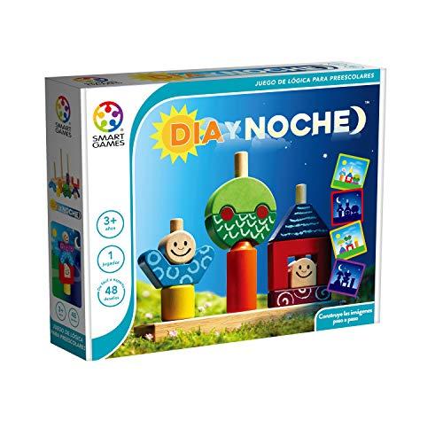 Smart Games- LUDILO-Dia Y Noche, (SG033ES), Bloques Bebes, Juguetes de Madera, construcciones para niños, Color