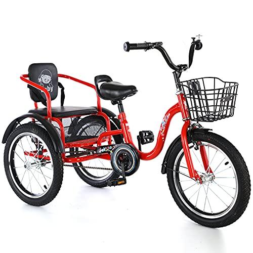 RSTJ-Sjef Triciclo para Niños, Bicicleta De Crucero De Una Sola Velocidad De 16 Pulgadas para Niños De 3 A 12 Años, Triciclos con Cesta De La Compra Y Asiento Trasero, Niños,Rojo