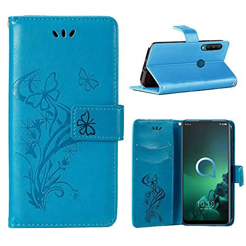 IRONB für Alcatel 3X (2019) Hülle,Wallet Case Handyhülle Ultra Slim Premium PU Leder Flip Leder Tasche Case Kartensteckplätzen Ständer Schutzhülle für Alcatel 3X (2019)-Blau