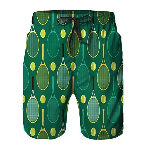 Homme Short De Bain Séchage Rapide, Tennis de Raquette de Tennis de Dessin animé réglable pour Surf Sport Natation Casual XL