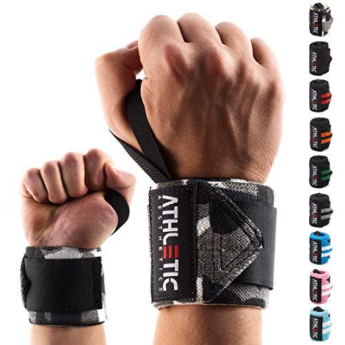 ATHLETIC AESTHETICS Handgelenk Bandagen Fitness - Wrist Wrap (45 cm im Paar) Handgelenkbandage für Krafttraining, Fitness, Bodybuilding, Crossfit - Handgelenkstütze mit Übungsguide als PDF