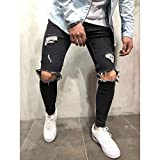 Moda Streetwear Jeans para Hombres Vintage Azul Gris Color Skinny Destroyed Ripped Jeans Pantalones Punk Rotos Homme Hip Hop Jeans Men M Black