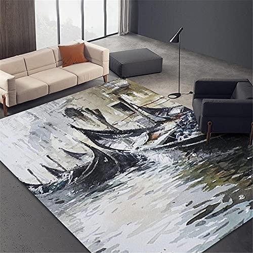 La Alfombra Alfombra habitacion Bebe Antideslizante Alfombra de diseño de Tinta marrón Negro Fácil de Limpiar Home Decoracion Alfombra habitacion Juvenil 60*160CM