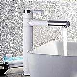 Grifo de lavabo Grifo de baño Grifo giratorio de latón Pintura Grifo de contenedor giratorio Manija única Agua fría y caliente Belleza simple