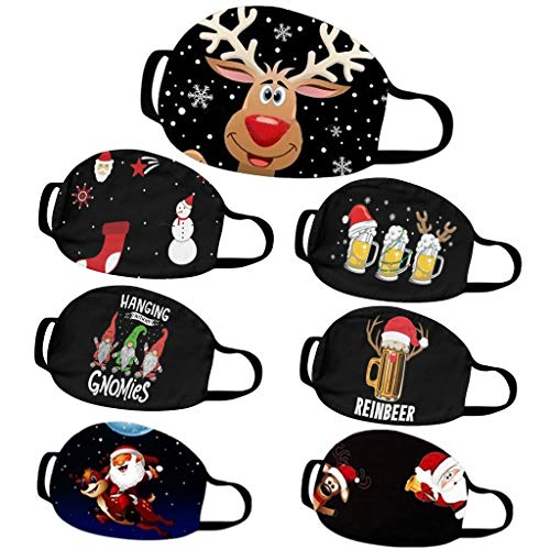 Eaylis 5 Stück Face Mask Multifunktionstuch Weihnachten Maske Waschbar Wiederverwendbar Stoffmaske Baumwolle Mund-Nasen Bedeckung Verstellbar Atmungsaktiv Halstuch Schals für Herren Damen (C-4)