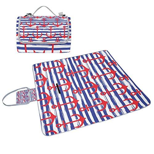COOSUN gestreift Anker-Picknick-Tasche mit Matte Schimmel resistent und wasserdicht Camping-Matte für rving, Picknickdecke, Strand, Wandern, Reisen und Ausflüge