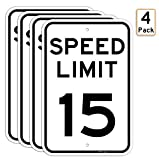 (4 Pack) Speed Limit 15 MPH Sign, 18 x 12 Inches Engineer Grade Reflective Sheeting, Rust Free Aluminum, Weather Resistant, Waterproof, Durable Ink, Easy to Mount