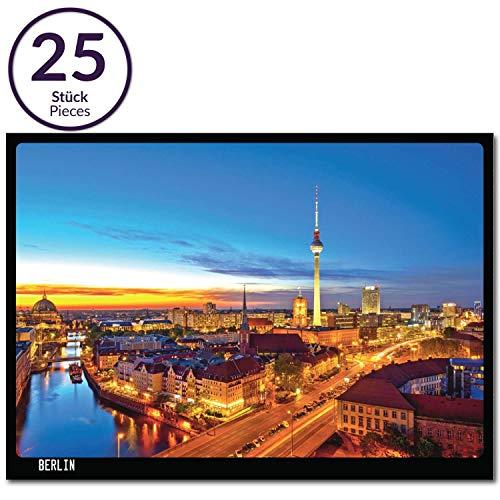 25x Postkarte Berlin Spree und Fernsehturm | 25 Stück | beschreibbar | mehrfach beschichtet, designed in Berlin | Standart-Format A6