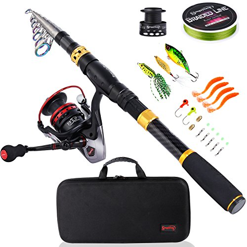 Sougayilang Fishing Rod Combos with Telescopic Fishing Pole Spinning Reels Fishing Carrier Bag for Travel Saltwater Freshwater Fishing(1.8M/5.91FT)