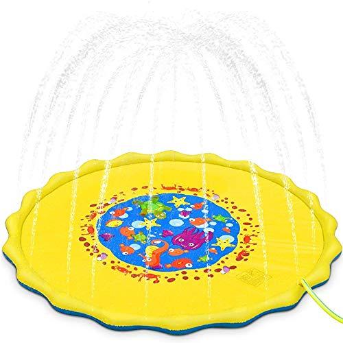 Lzcaure Alfombrilla de aspersor para piscina de PVC para niños, césped y playa, juguete de agua, para verano, para niños, para exteriores, color C1, tamaño: 170 x 170 cm