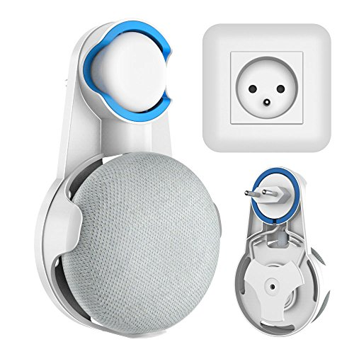Cozycase Soporte de Montaje en Pared para Google Home Mini Asistentes de Voz, sin Cables o Tornillos distorsionados, Space Saver Hanger Plug en el baño y la Cocina del Dormitorio - Blanco…