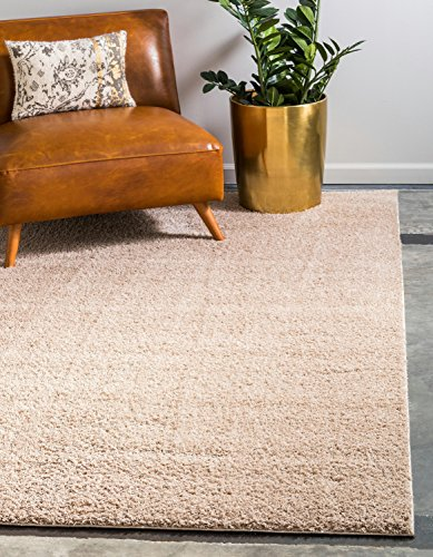 Unique Loom Serenity Solid Shag Collection Super Soft Micro Polyester Taupe Area Rug (4