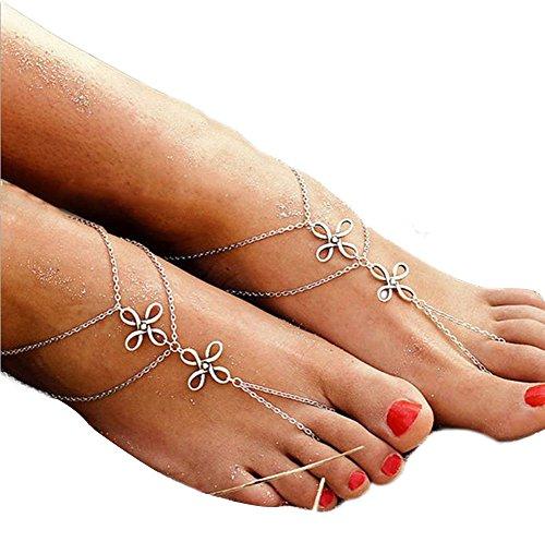 Vektenxi Mehrstöckige Kette Frauen Fußkettchen Kette Armband Fußkettchen Barfuß Sandale Fußkette Strand Hochzeit Schmuck Zehen Fußkettchen Kette Fußkettchen