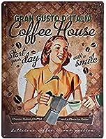 ブリキ看板 コーヒーハウス Coffee House Lady/TIN SIGN アメリカン雑貨 インテリア