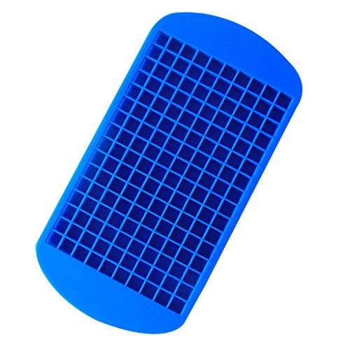 MULIN Home Party or Business Purposes 160 Grids Mini Ice Cube Tray Reusable Food Grade Silicone DIY Ice Cube Mold Blue