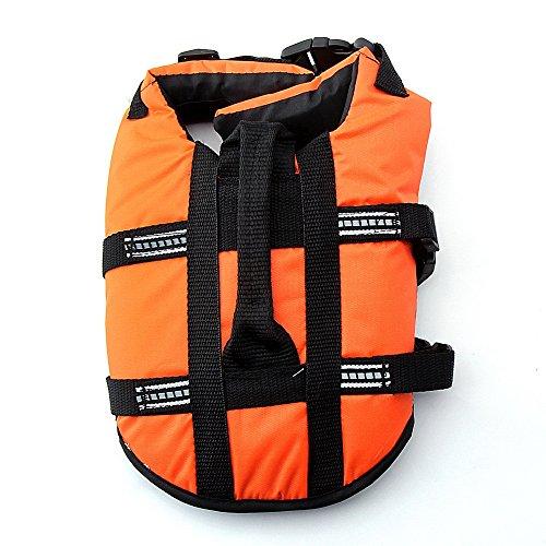DAZONE Pet Dog Doggy Life Jacket Puppy Preserver Lab Swimwear with Belt-Orange,XS
