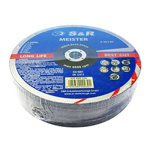 S&R Disco 230 Mola da Taglio per Metallo Ferro Acciaio - Set 25 dischi 230 x 2,0 x 22,23 mm A30 S-BF