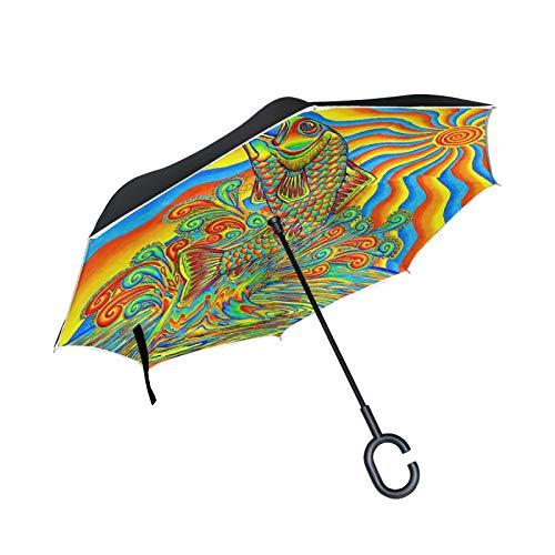 Paraguas invertido de Doble Capa, a Prueba de Viento, para Exteriores, para Lluvia, Sol, para automóvil, con Mango en Forma de C, con Mango en Forma de C - Animal Colorido de la Carpa del Arte