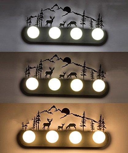 Retro mur industriel lampe lumière, le salon la chambre baignoire personnalité couloir avant miroir lampe avec ampoule, 60×30cm, trois cerfs dans la forêt,5 Watts ampoule LED avec gradateur 3-couleurs