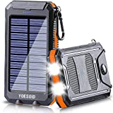 Solar Charger 20000mAh YOESOID Portable Solar Power Bank External Backup Battery Pack Waterproof Solar Phone Charger with 2 USB Ports Dual LED Light, Carabiner and Compass for Smartphones