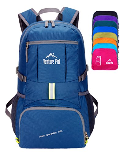 Venture Pal Ultralight Lightweight Packable Foldable Travel Camping Hiking Outdoor Sports Backpack Daypack-NavyBlue