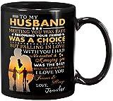 Personalized TO MY HUSBAND Mug, Meeting You Was Fate Mug, Love To Husband From Wife Wedding Anniversary Valentine Birthday Gifts For Men Women Customized Name Ceramic Coffee 11 15 Oz Mug