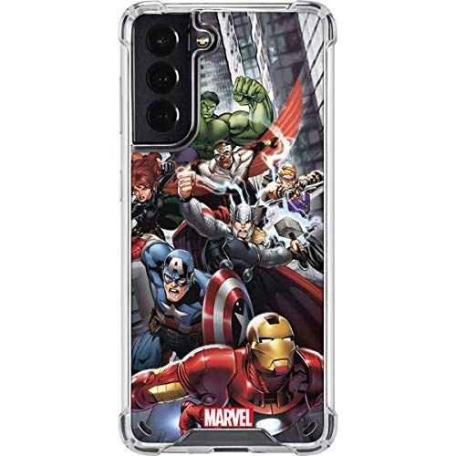 Skinit Clear Phone Case Compatible with Galaxy S21 5G - Officially Licensed Marvel Avengers Team Power Up Design