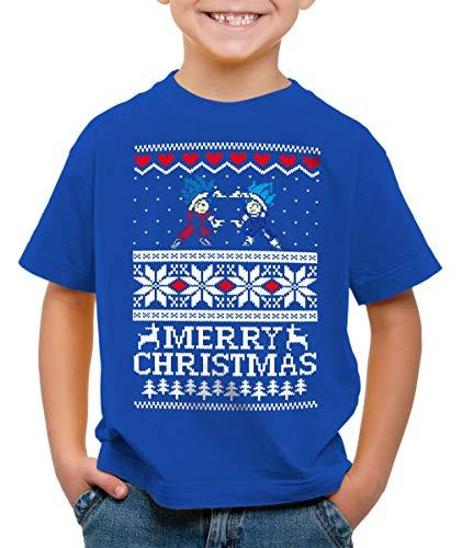 style3 Merry Christmas Goku Vegeta Noël T-Shirt pour Enfants, Couleur:Bleu, Taille:152