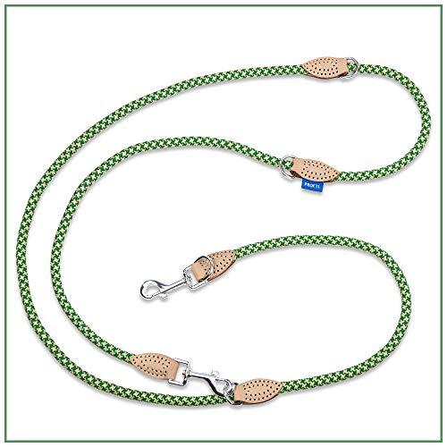 PROFTI Hundeleine aus Nylon, Lederelemente, 4fach verstellbar, große/kleine Hunde, 230cm lang, robust/schwer, Grün/Beige