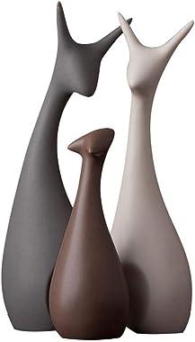 Xtore® Home Décor Lucky Deer Family Matt Finish Ceramic Figures (Set of 3)