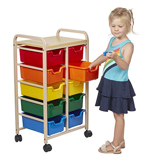 ECR4Kids 10-Bin Rolling Storage Organizer - Heavy Duty Mobile Cart, Sand and Assorted