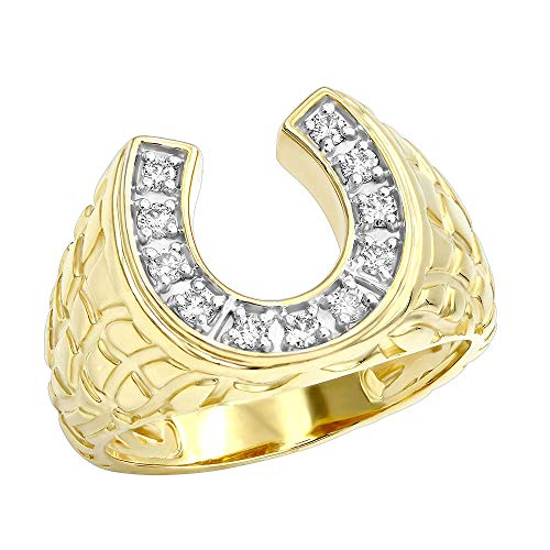 Good Luck Men's 14k Gold Nugget Horseshoe Diamond Ring 0.3ctw G-H color (Yellow Gold, Size 8.5)