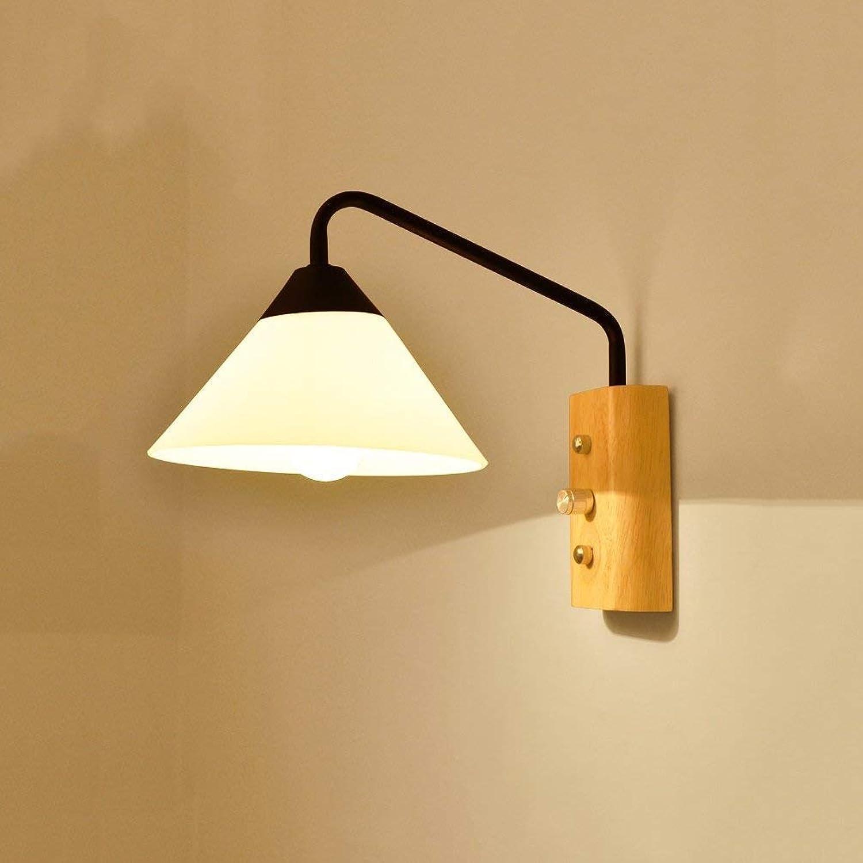 Nordic Wandleuchte Moderne minimalistische kreative Wohnzimmer Schlafzimmer Nachttischlampe Treppe Gang Massivholz LED Wandleuchte (Farbe   schwarz)
