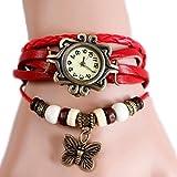 Toruiwa Damen Armbanduhren Retro Böhmischer Stil mit Schmetterling Anhänger Wickelarmbanduhr Geflochten Uhren aus PU Leder Armreif Uhr für Herren Damen Jungen Mädchen (Rot)