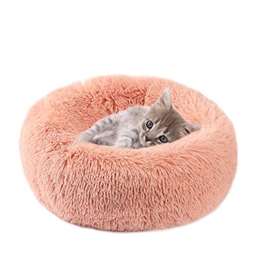 Vanansa Hundebett für Hunde und Katzen, Rundes Katzenbett Donut Plüsches Bett für Süßen Schlaf für Ihre Kleine Tiere Rosa 40cm