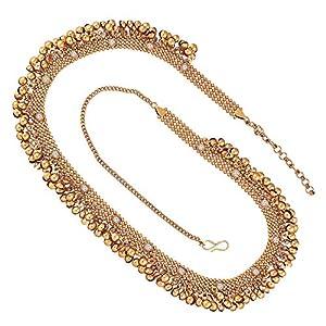 Peora Traditional Antique Gold Waist Belt Kamarband Kamarpatta Belly Chain for Women Girls
