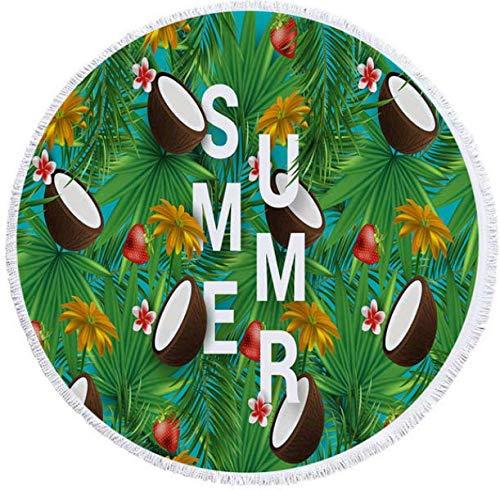 DJSK Blätter Blumen Erdbeer Frucht Sommer Runde Strandtücher Badetücher Duschtücher Yoga Matte Mit Kordelzug Rucksack Tasche Für Kinder Am Meer