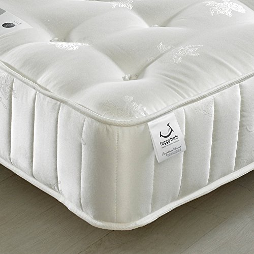 Orthopaedic 3000 Pocket Sprung, Happy Beds Signature Crystal Medium Firm Tension Mattress with Natural Fillings - 5ft UK King (150 x 200 cm)