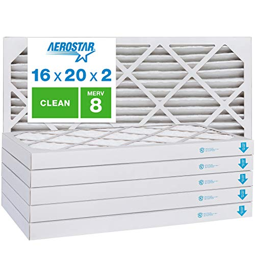 Aerostar Clean House 16x20x2 MERV 8 Pleated Air Filter, Made in the USA, (Actual Size: 15 1/2'x19 1/2'x1 3/4'), 6-Pack, White