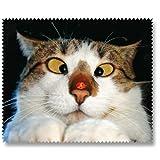 Brillenputztuch Putztuch Displayputztuch Schielende Katze 17,5 x 11 cm