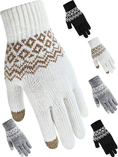 3 Pairs Winter Warm Gloves Texting Gloves Touchscreen Gloves Full Fingers Knitted Mechanic Gloves