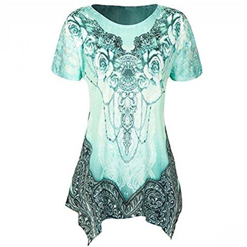 VEMOW Sommer Mode Elegante Damen Frauen Oansatz Plissee Plus Größe Kurzarm Casual Daily Dance Party Bluse Top Tunika Shirt T-Shirts Pulli Tees(Grün, 44 DE/XL CN)