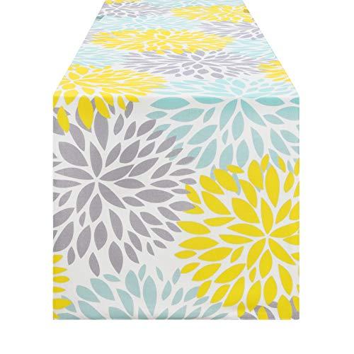 Alishomtll Tischläufer mit Blumen Bunt Tischdecke Läufer Tischband rutschfest Dekoration Tischdeko für Esstisch 35 x 180 cm