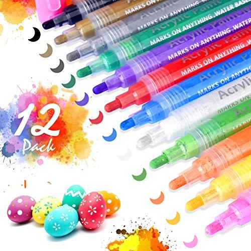 Acrylstifte Marker Stifte, RISEMART 12 Farben Premium Wasserfest Paint Marker Set Wasserfest Permanent Art Filzstift Acrylic Painter für DIY Stein, Leinwand, Papier, Glasmalerei, Metall, Fotoalbum UVM